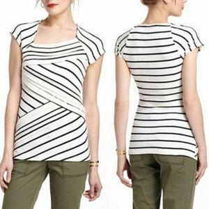 Anthro Postmark white stripe tiered asymmetric top